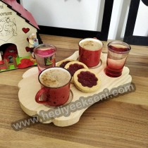 İkili Türk Kahvesi Sunum Tabağı