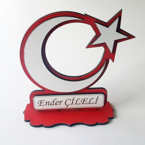 Kişiye Özel Masaüstü Türk Bayrağı İsimlik